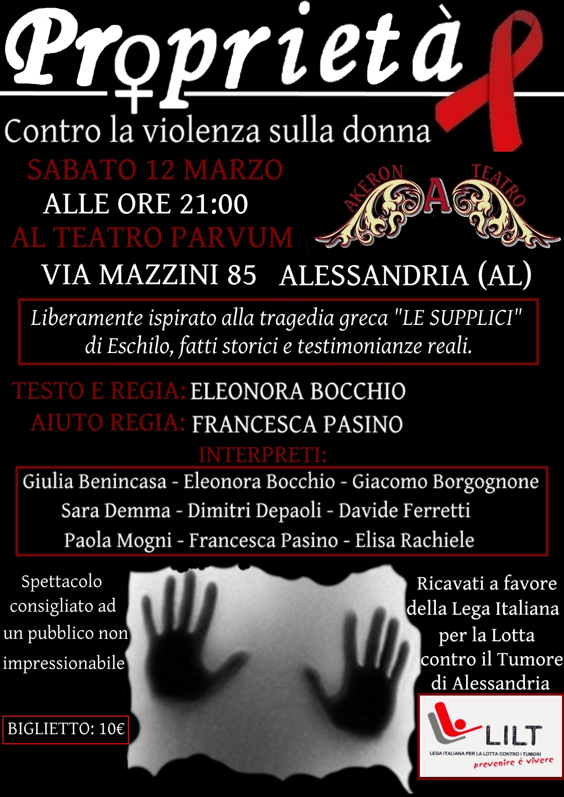 Favorito SPettacolo Teatrale Contro la Violenza sulle donne | Lega Tumori  LO21